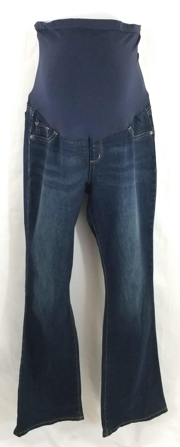 used maternity clothes, pregnancy jeans, indigo blue premium denim