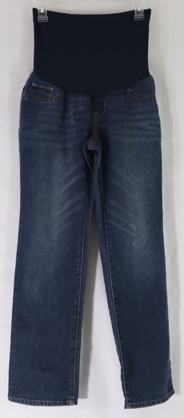 used maternity jeans, pregnancy jeans, indigo blue maternity jeans